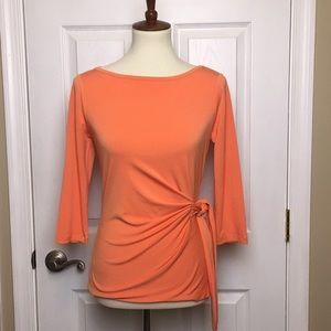 Ann Taylor Orange Wrap Top Blouse